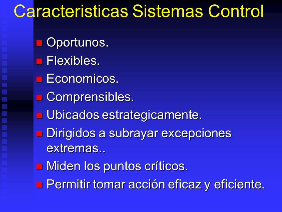 Caracteristicas Sistemas Control Oportunos. Oportunos. Flexibles. Flexibles. Economicos. Economicos. Comprensibles. Comprensibles. Ubicados estrategic