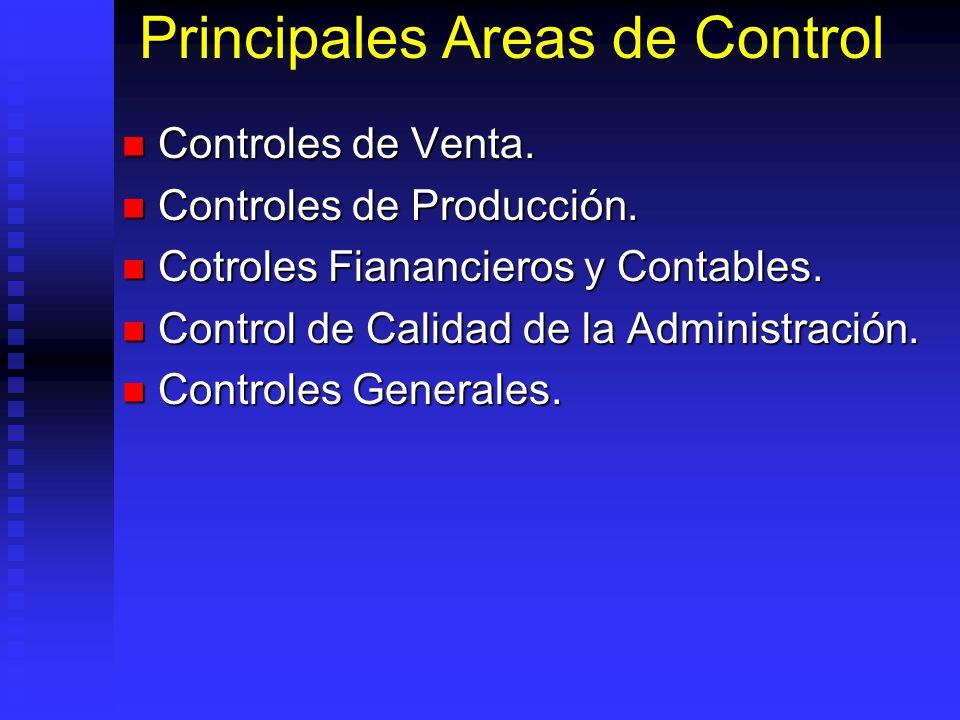 Principales Areas de Control Controles de Venta. Controles de Venta. Controles de Producción. Controles de Producción. Cotroles Fianancieros y Contabl