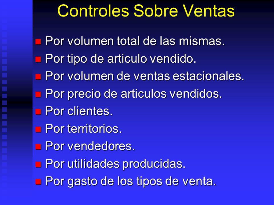 Controles Sobre Ventas Por volumen total de las mismas. Por volumen total de las mismas. Por tipo de articulo vendido. Por tipo de articulo vendido. P