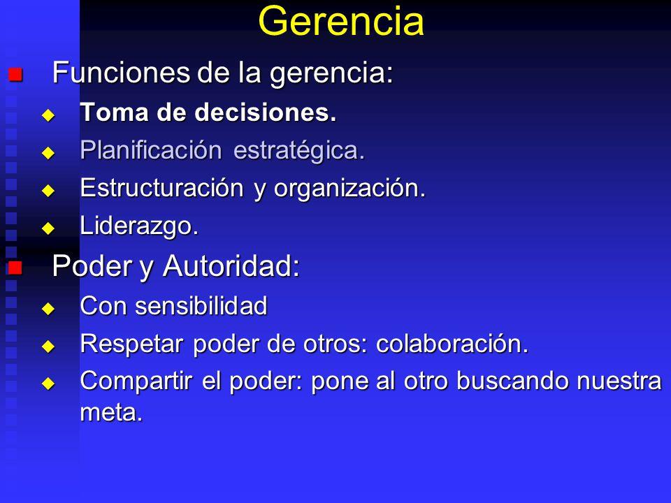 Gerencia Funciones de la gerencia: Funciones de la gerencia: Toma de decisiones. Toma de decisiones. Planificación estratégica. Planificación estratég