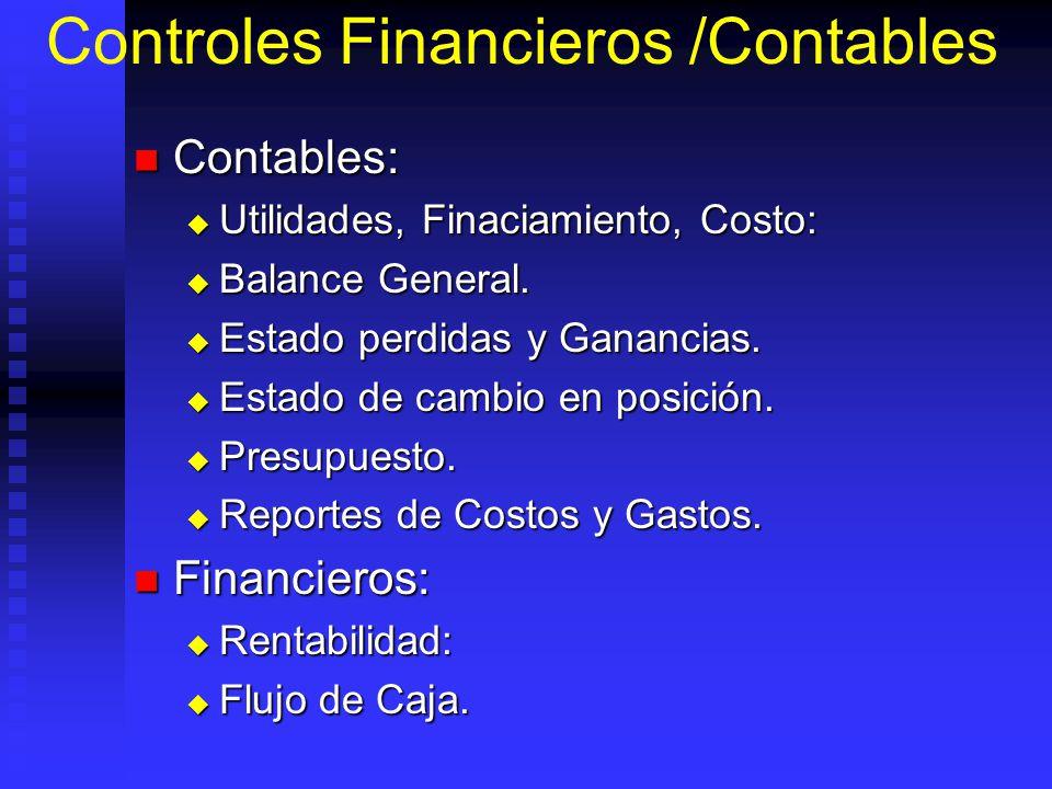 Controles Financieros /Contables Contables: Contables: Utilidades, Finaciamiento, Costo: Utilidades, Finaciamiento, Costo: Balance General.