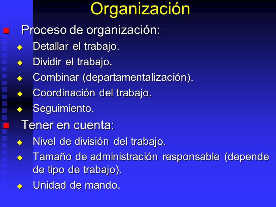 Organización Proceso de organización: Proceso de organización: Detallar el trabajo.