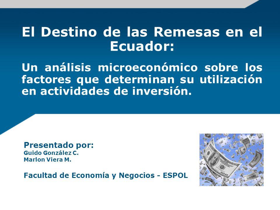 Introducción Objetivo: Identificar los principales factores que explican el porcentaje de inversión de remesas entre los receptores ecuatorianos.