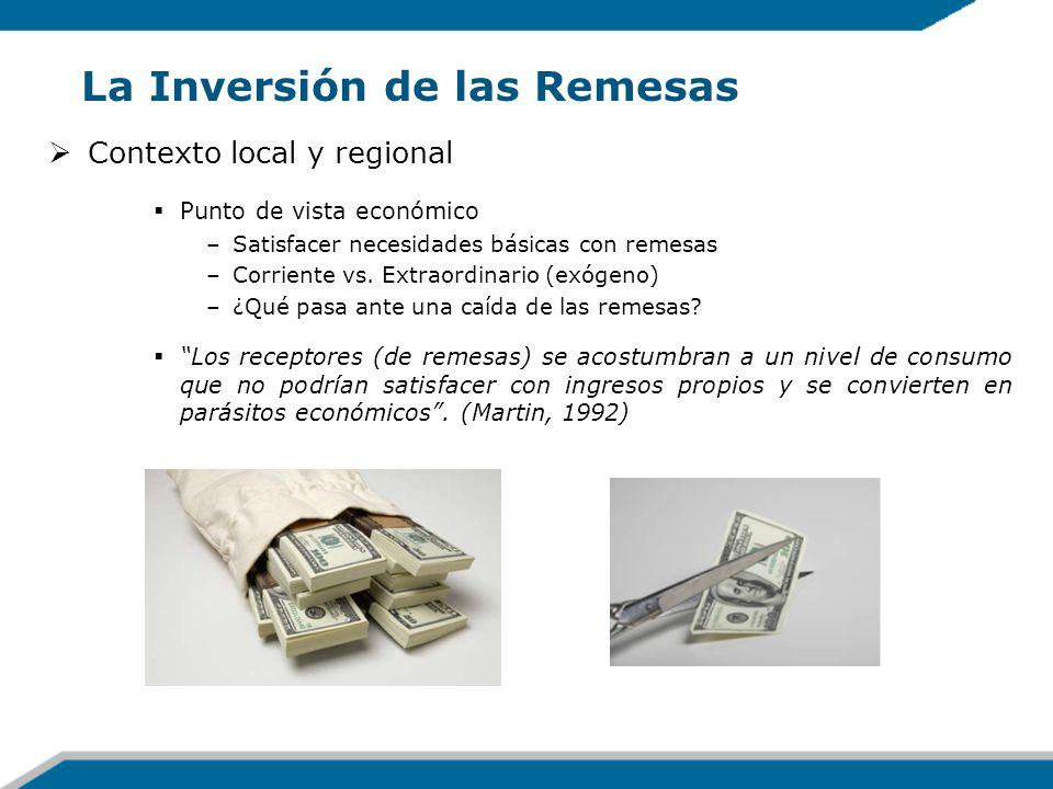 La Inversión de las Remesas Contexto local y regional Punto de vista económico –Satisfacer necesidades básicas con remesas –Corriente vs. Extraordinar
