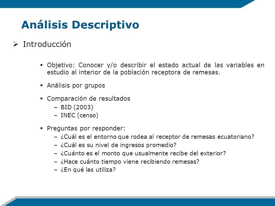 Análisis Descriptivo Introducción Objetivo: Conocer y/o describir el estado actual de las variables en estudio al interior de la población receptora d