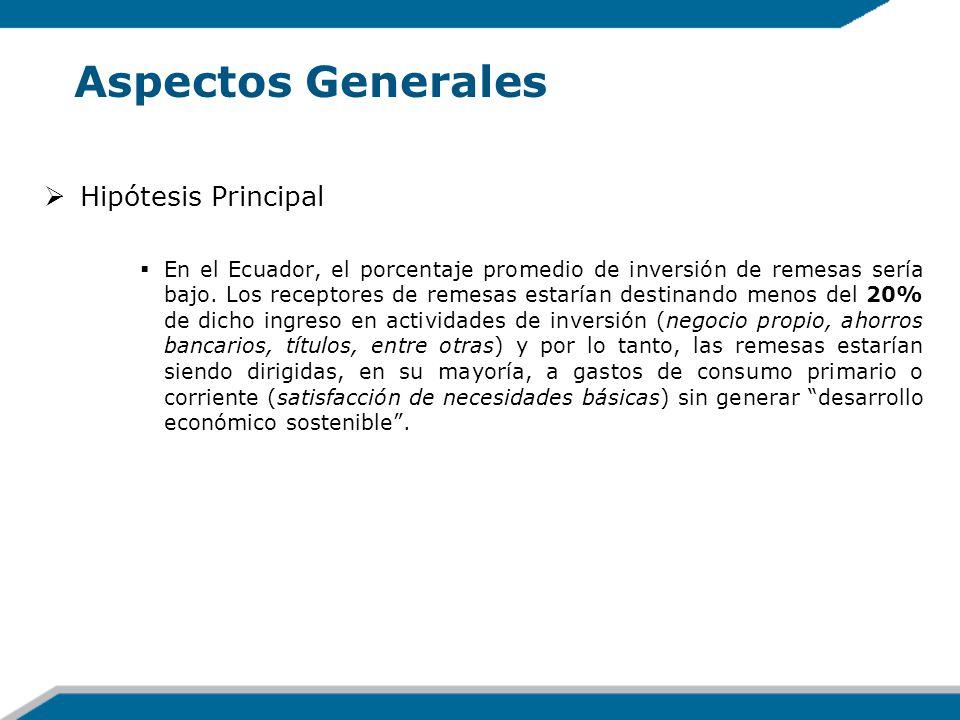 Aspectos Generales Hipótesis Principal En el Ecuador, el porcentaje promedio de inversión de remesas sería bajo. Los receptores de remesas estarían de