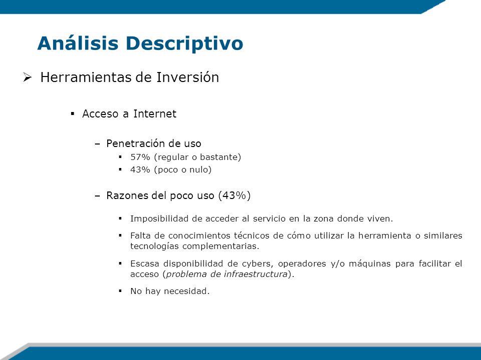 Análisis Descriptivo Herramientas de Inversión Acceso a Internet –Penetración de uso 57% (regular o bastante) 43% (poco o nulo) –Razones del poco uso
