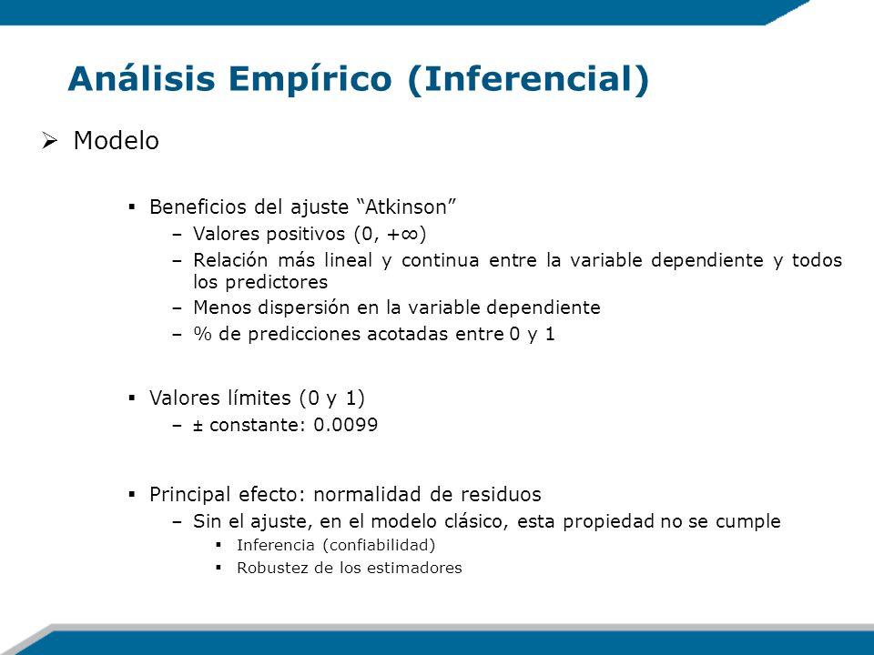 Análisis Empírico (Inferencial) Modelo Beneficios del ajuste Atkinson –Valores positivos (0, +) –Relación más lineal y continua entre la variable depe