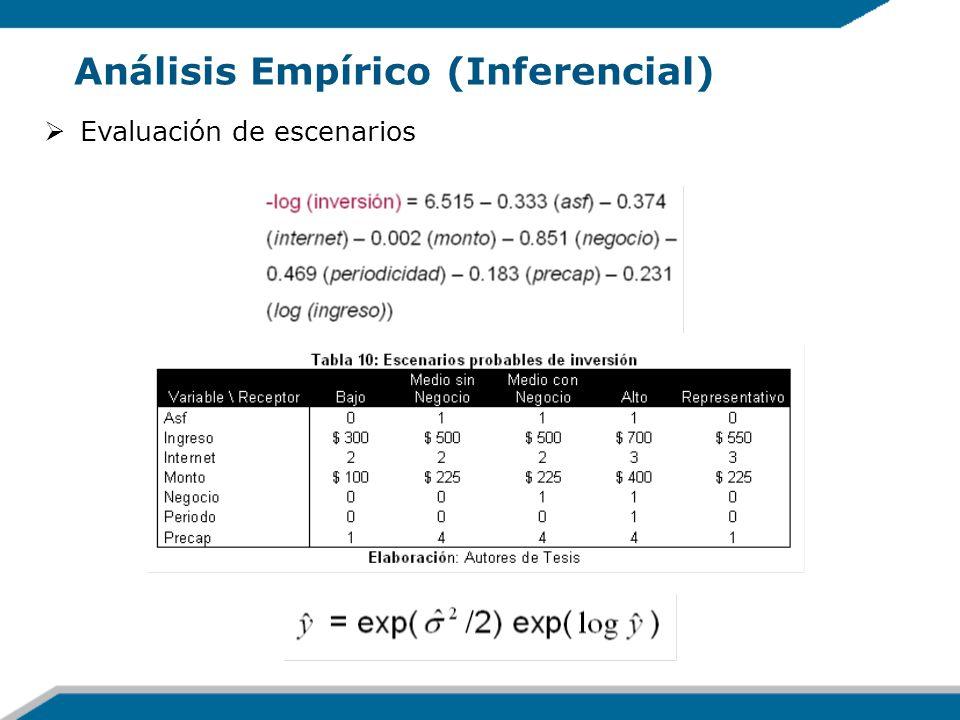 Análisis Empírico (Inferencial) Evaluación de escenarios