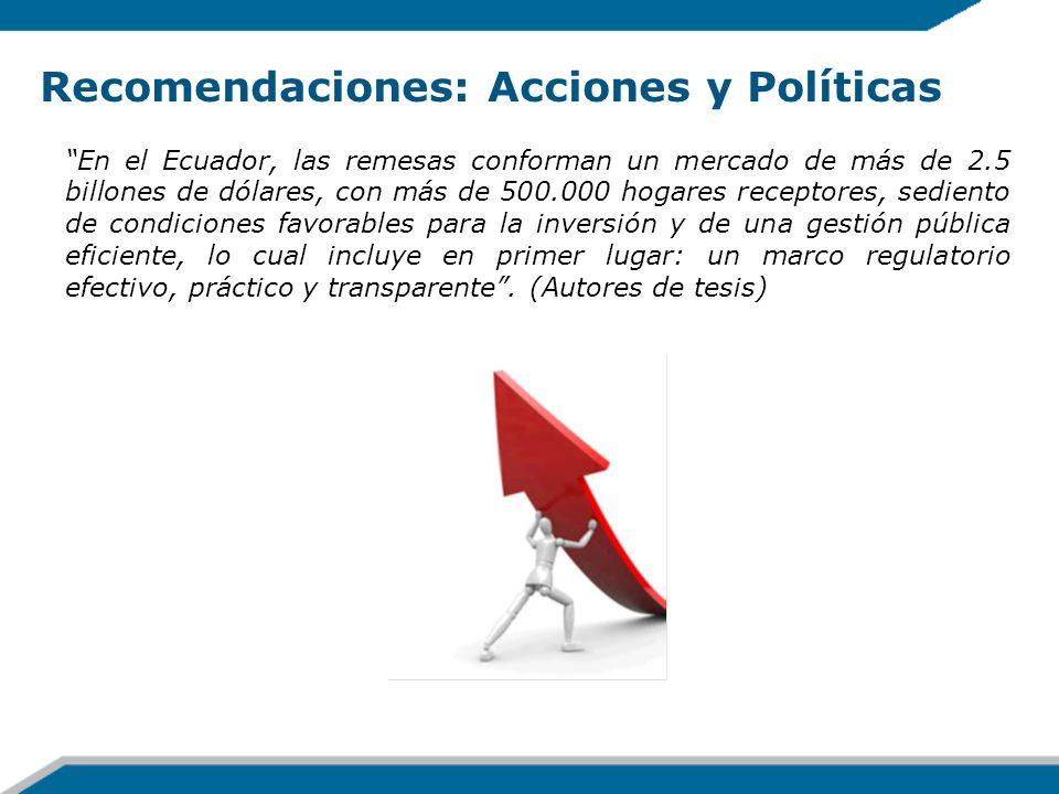 Recomendaciones: Acciones y Políticas En el Ecuador, las remesas conforman un mercado de más de 2.5 billones de dólares, con más de 500.000 hogares re