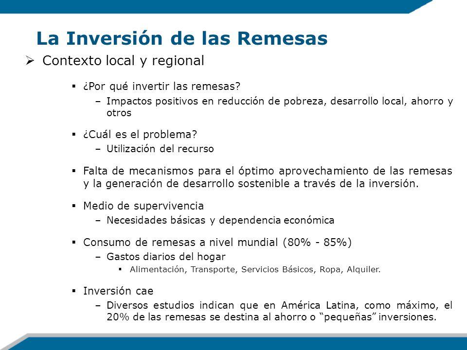 La Inversión de las Remesas Contexto local y regional ¿Por qué invertir las remesas? –Impactos positivos en reducción de pobreza, desarrollo local, ah