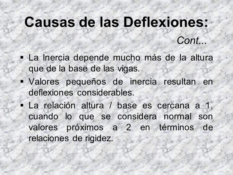 Causas de las Deflexiones: Cont... La rigidez del tablero. La inercia del tablero está proporcionada casi en su totalidad por las vigas (T invertida).