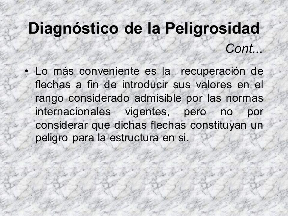 Diagnóstico de la Peligrosidad La presencia de flechas considerables constituye un problema funcional que de no ser tratado a tiempo se puede convertir en un problema estructural.