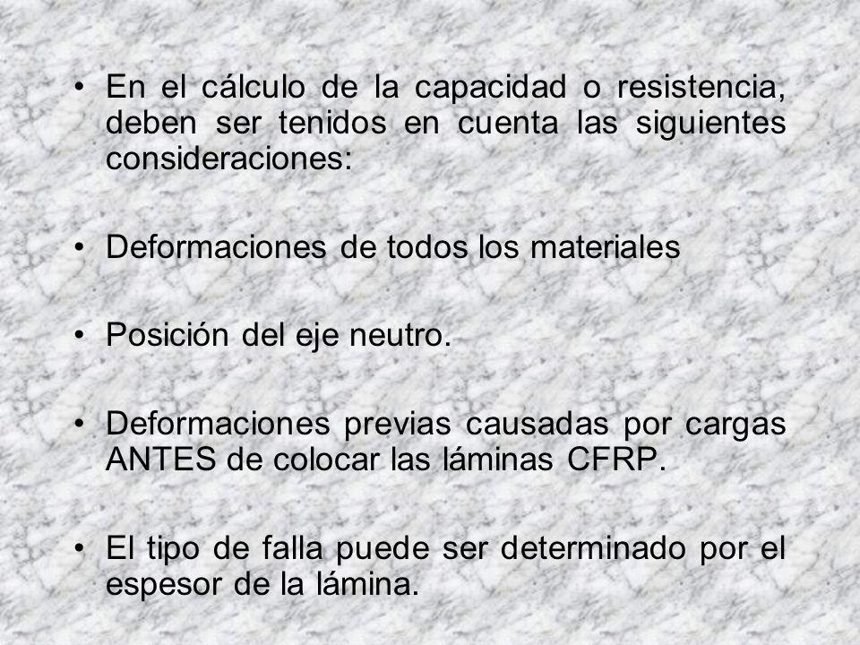 Desarrollo de Norma Sika Carbodur: Para elementos con reforzamiento CFRP a flexión, se debe cumplir lo siguiente: * resistencia nominal = resistencia requerida Es importante aclarar que el comportamiento de los CFRP es casi lineal - elástico (ductilidad o deformación plástica de reserva casi nula en zonas de tracción).