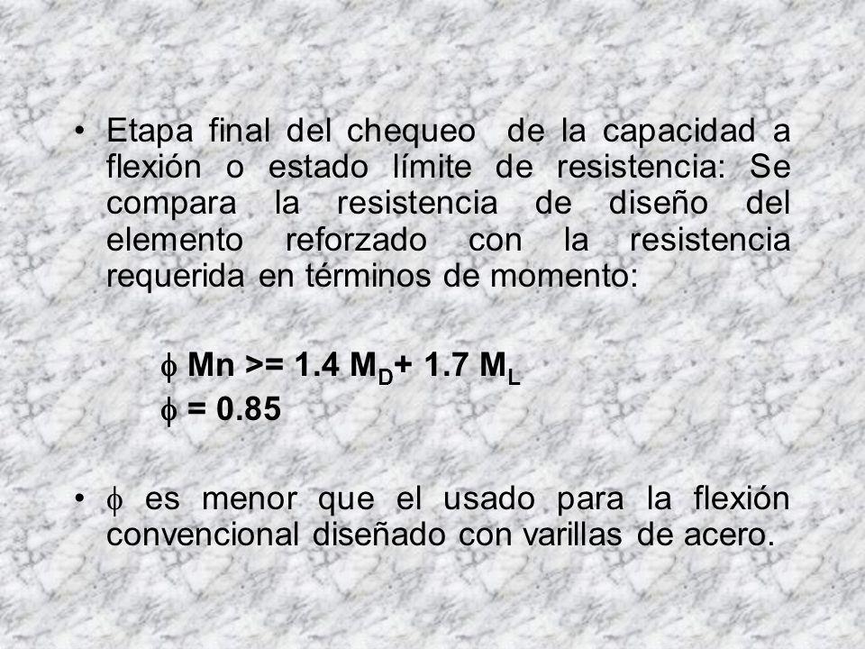En el cálculo de la capacidad o resistencia, deben ser tenidos en cuenta las siguientes consideraciones: Deformaciones de todos los materiales Posición del eje neutro.
