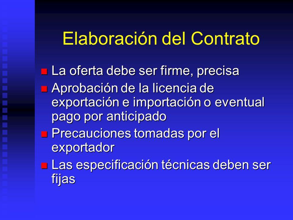 Elaboración del Contrato La oferta debe ser firme, precisa La oferta debe ser firme, precisa Aprobación de la licencia de exportación e importación o