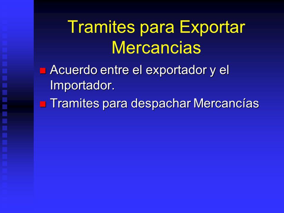 Tramites para Exportar Mercancias Acuerdo entre el exportador y el Importador. Acuerdo entre el exportador y el Importador. Tramites para despachar Me