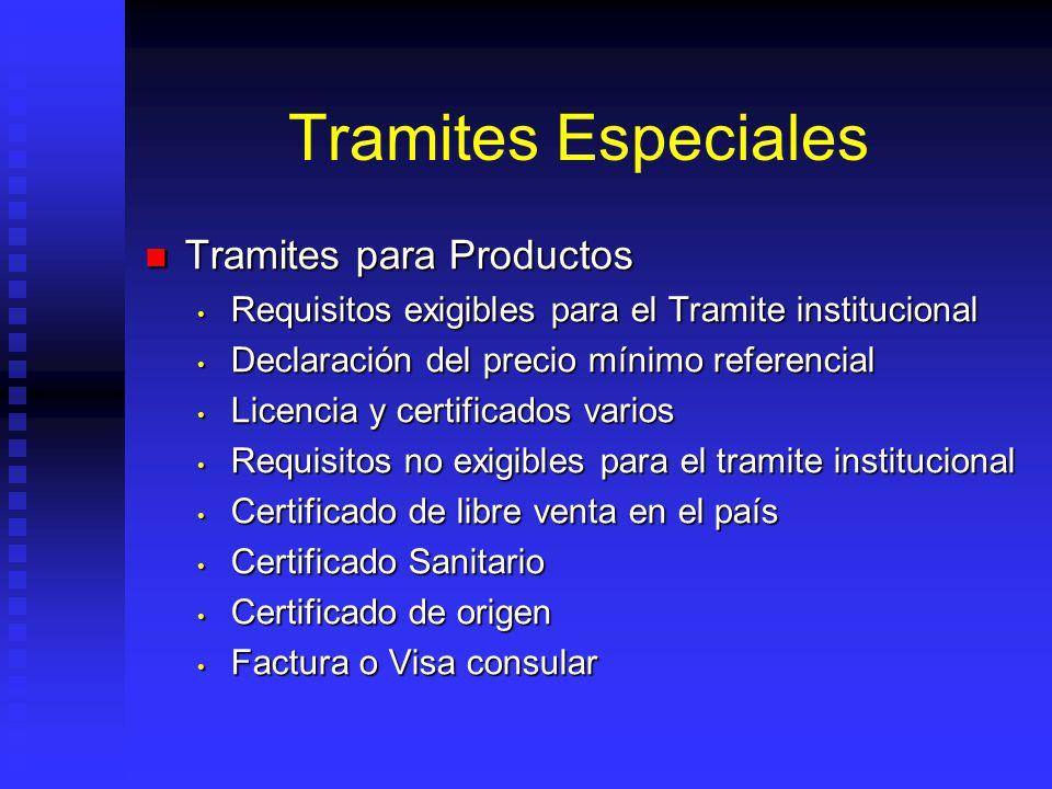 Tramites Especiales Tramites para Productos Tramites para Productos Requisitos exigibles para el Tramite institucional Requisitos exigibles para el Tr