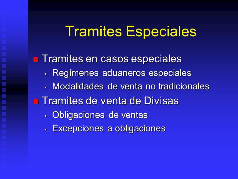 Tramites Especiales Tramites en casos especiales Tramites en casos especiales Regímenes aduaneros especiales Regímenes aduaneros especiales Modalidade