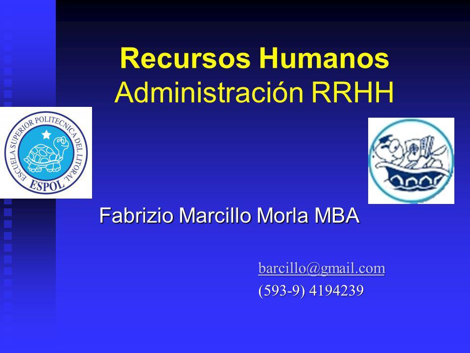 Recursos Humanos Administración RRHH Fabrizio Marcillo Morla MBA barcillo@gmail.com (593-9) 4194239