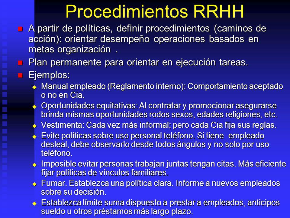 Procedimientos RRHH A partir de políticas, definir procedimientos (caminos de acción): orientar desempeño operaciones basados en metas organización.