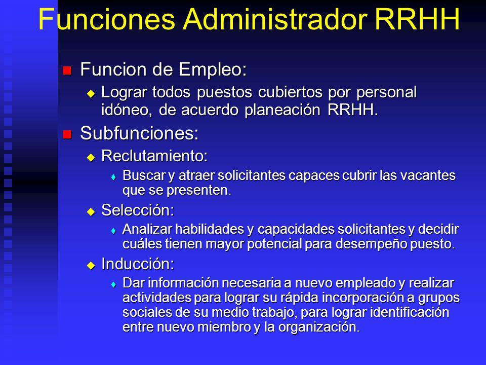 Funciones Administrador RRHH Funcion de Empleo: Funcion de Empleo: Lograr todos puestos cubiertos por personal idóneo, de acuerdo planeación RRHH.