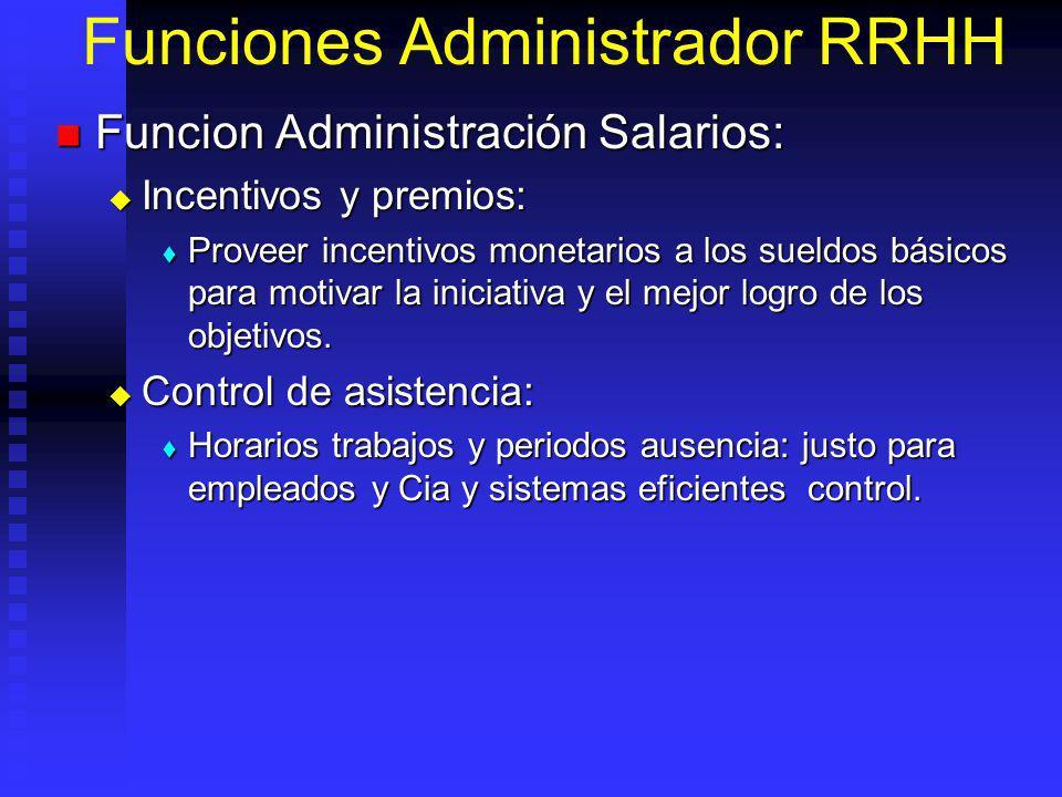 Funciones Administrador RRHH Funcion Administración Salarios: Funcion Administración Salarios: Incentivos y premios: Incentivos y premios: Proveer incentivos monetarios a los sueldos básicos para motivar la iniciativa y el mejor logro de los objetivos.