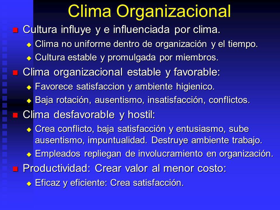 Clima Organizacional Cultura influye y e influenciada por clima. Cultura influye y e influenciada por clima. Clima no uniforme dentro de organización