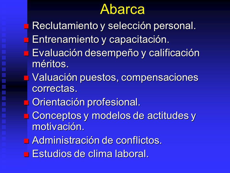 Abarca Reclutamiento y selección personal. Reclutamiento y selección personal. Entrenamiento y capacitación. Entrenamiento y capacitación. Evaluación