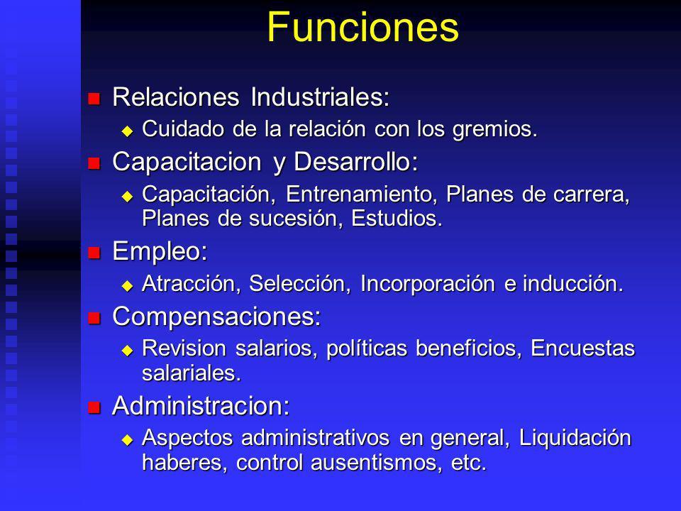 Funciones Relaciones Industriales: Relaciones Industriales: Cuidado de la relación con los gremios. Cuidado de la relación con los gremios. Capacitaci