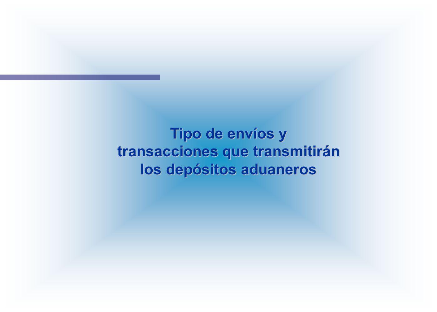 Tipo de envíos y transacciones que transmitirán los depósitos aduaneros