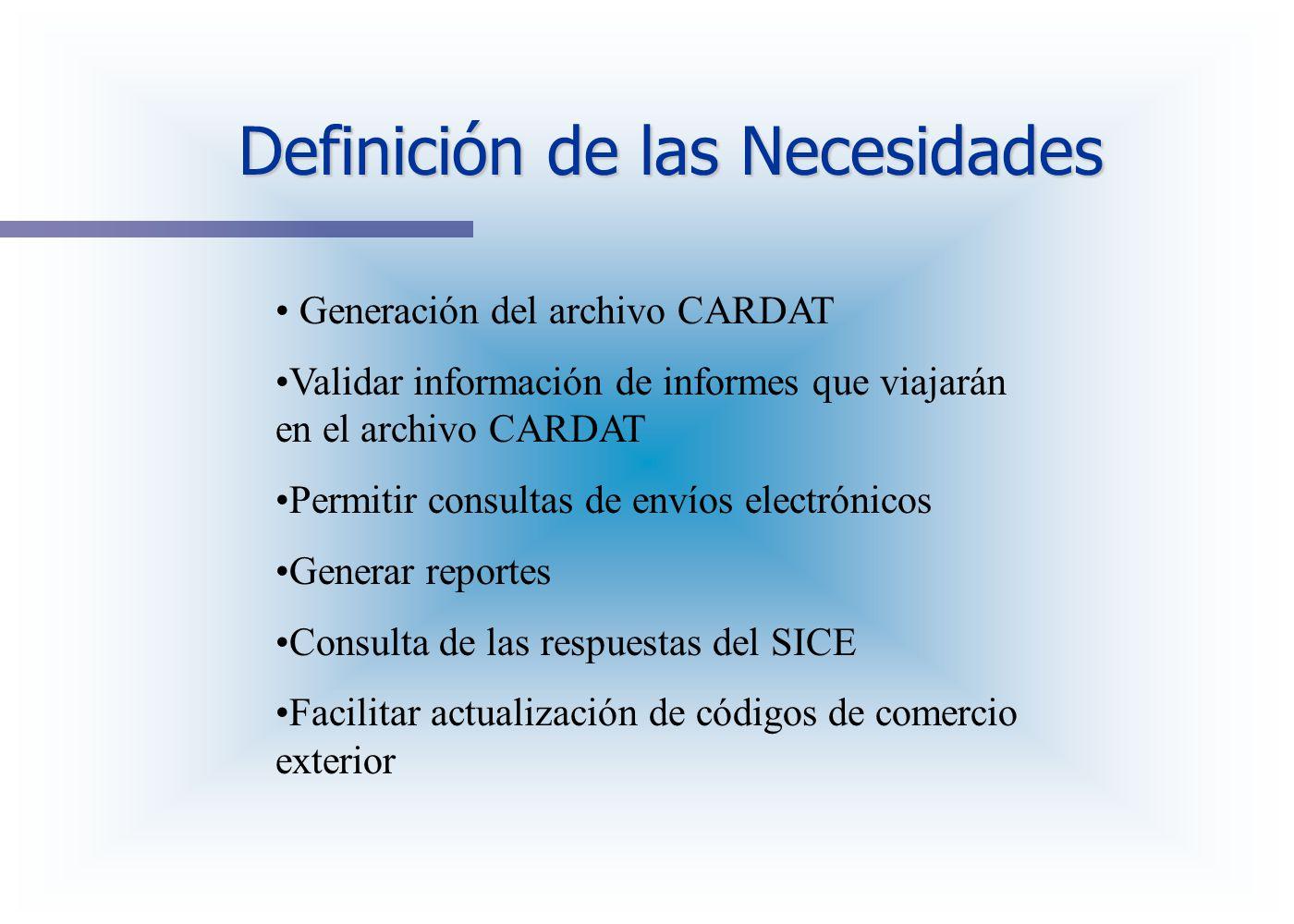 Definición de las Necesidades Generación del archivo CARDAT Validar información de informes que viajarán en el archivo CARDAT Permitir consultas de en