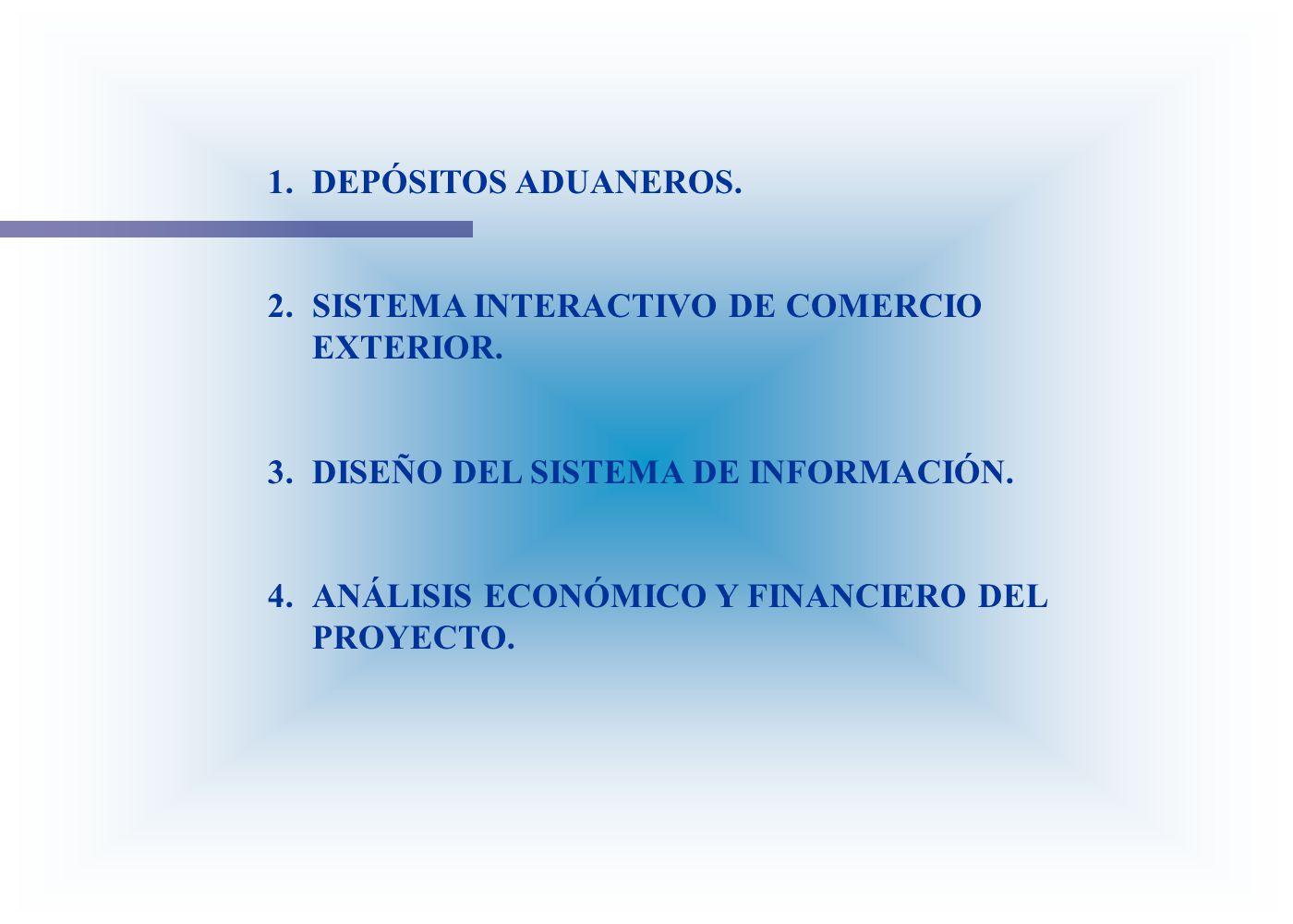 1.DEPÓSITOS ADUANEROS. 2.SISTEMA INTERACTIVO DE COMERCIO EXTERIOR. 3.DISEÑO DEL SISTEMA DE INFORMACIÓN. 4.ANÁLISIS ECONÓMICO Y FINANCIERO DEL PROYECTO