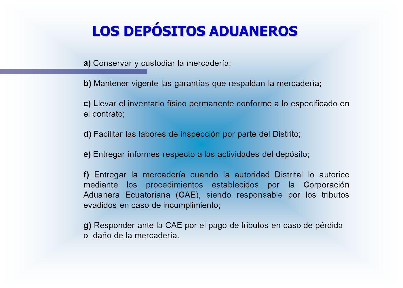 a) Conservar y custodiar la mercadería; b) Mantener vigente las garantías que respaldan la mercadería; c) Llevar el inventario físico permanente confo