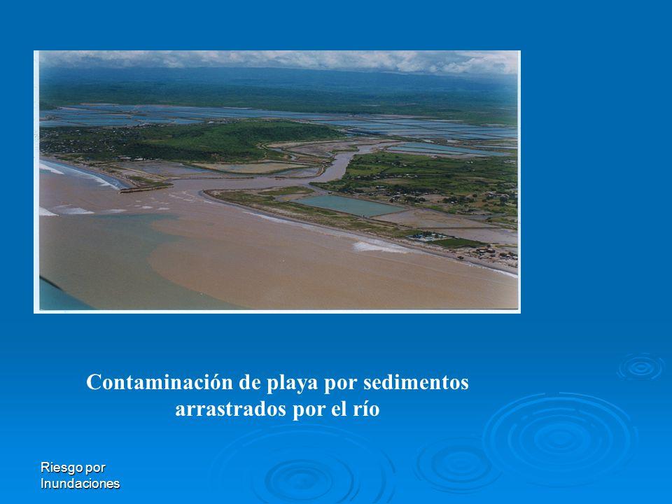 Riesgo por Inundaciones Contaminación de playa por sedimentos arrastrados por el río