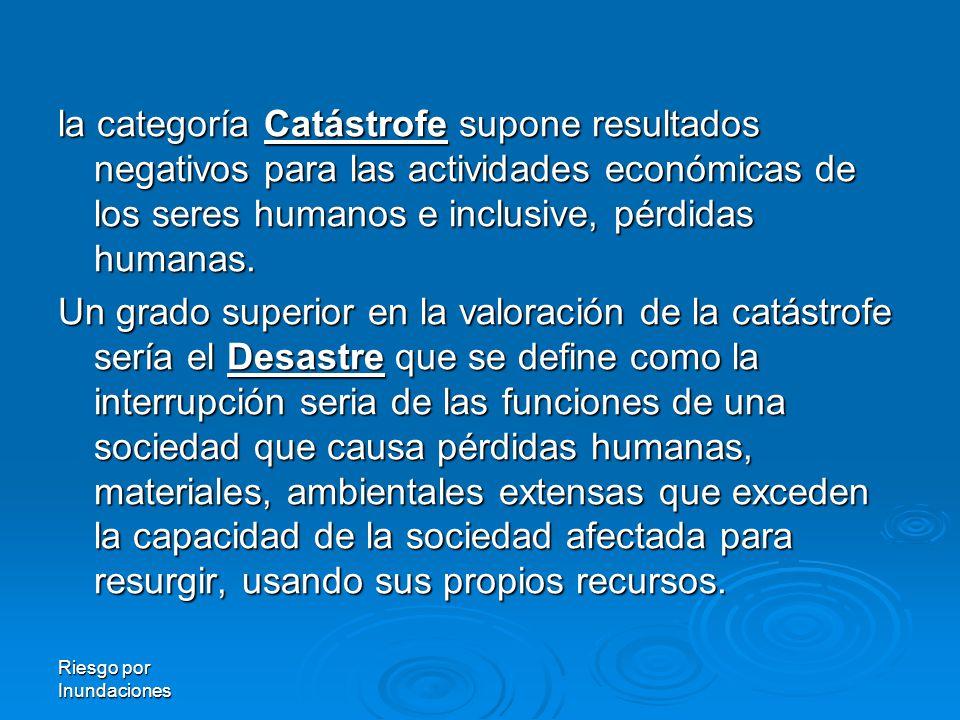 la categoría Catástrofe Catástrofe supone resultados negativos para las actividades económicas de los seres humanos e inclusive, pérdidas humanas.