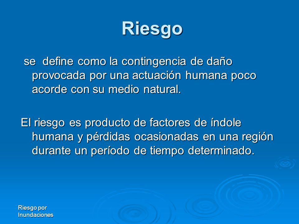 Riesgo por Inundaciones Riesgo se define como la contingencia de daño provocada por una actuación humana poco acorde con su medio natural.