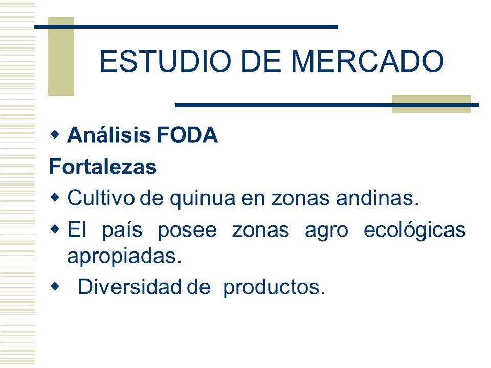 ESTUDIO DE MERCADO Análisis FODA Fortalezas Cultivo de quinua en zonas andinas. El país posee zonas agro ecológicas apropiadas. Diversidad de producto
