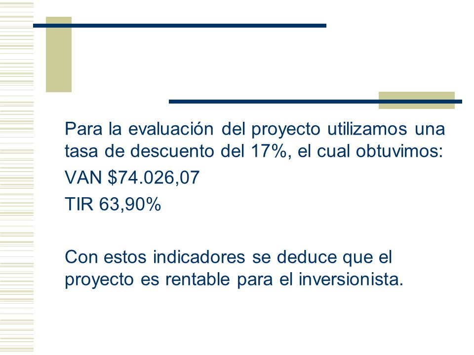 Para la evaluación del proyecto utilizamos una tasa de descuento del 17%, el cual obtuvimos: VAN $74.026,07 TIR 63,90% Con estos indicadores se deduce