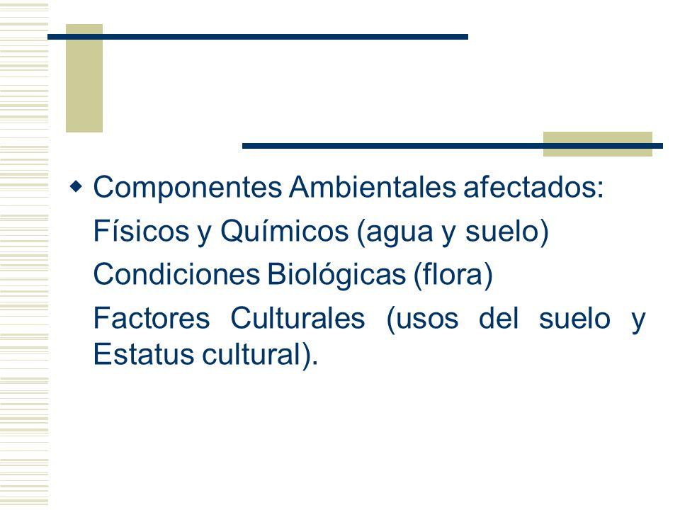 Componentes Ambientales afectados: Físicos y Químicos (agua y suelo) Condiciones Biológicas (flora) Factores Culturales (usos del suelo y Estatus cult