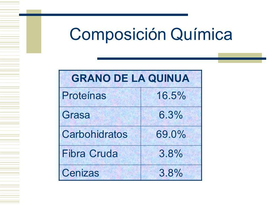 Composición Química GRANO DE LA QUINUA Proteínas16.5% Grasa6.3% Carbohidratos69.0% Fibra Cruda3.8% Cenizas3.8%
