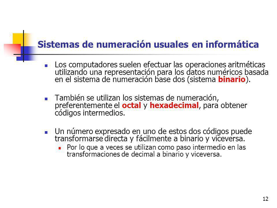 12 Sistemas de numeración usuales en informática Los computadores suelen efectuar las operaciones aritméticas utilizando una representación para los datos numéricos basada en el sistema de numeración base dos (sistema binario).