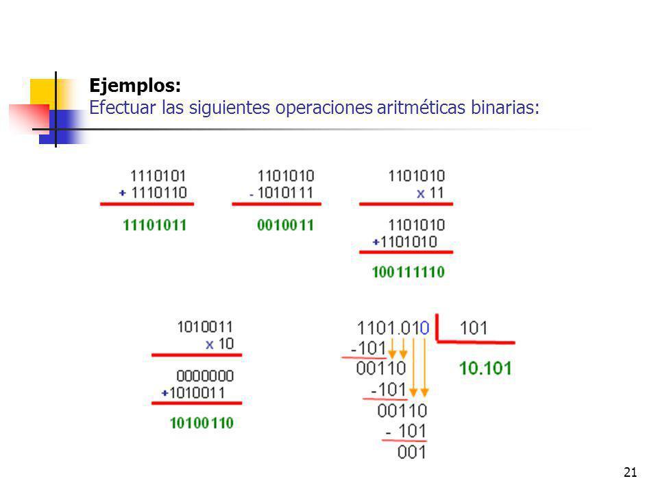 21 Ejemplos: Efectuar las siguientes operaciones aritméticas binarias: