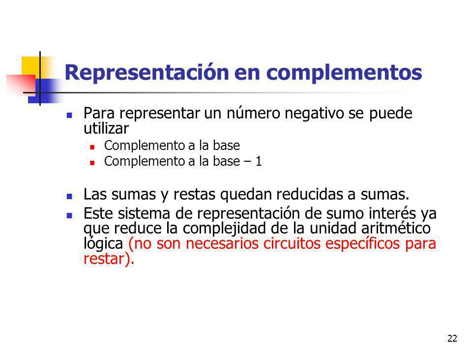 22 Representación en complementos Para representar un número negativo se puede utilizar Complemento a la base Complemento a la base – 1 Las sumas y restas quedan reducidas a sumas.