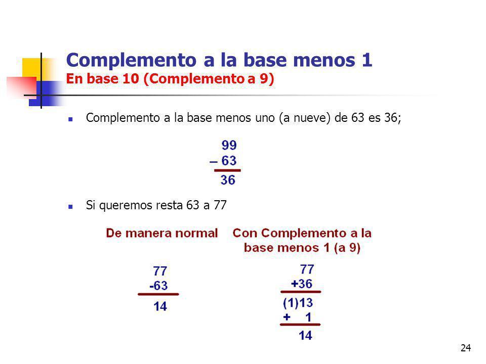 24 Complemento a la base menos 1 En base 10 (Complemento a 9) Complemento a la base menos uno (a nueve) de 63 es 36; Si queremos resta 63 a 77