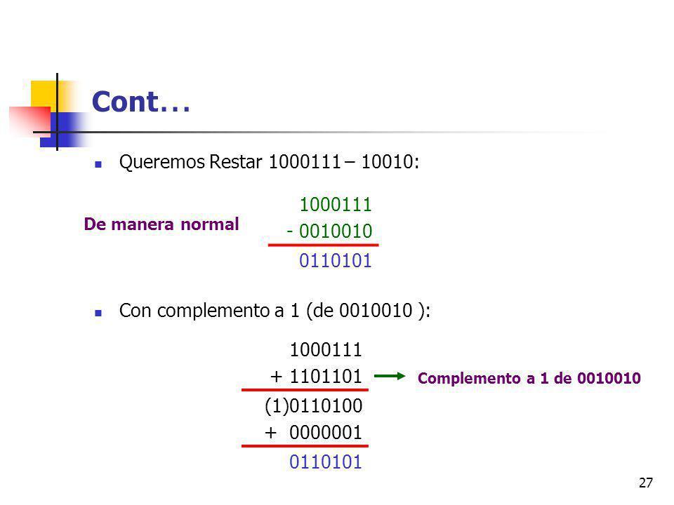 27 Cont … Queremos Restar 1000111 – 10010: Con complemento a 1 (de 0010010 ): 1000111 - 0010010 0110101 1000111 + 1101101 (1)0110100 + 0000001 0110101 Complemento a 1 de 0010010 De manera normal