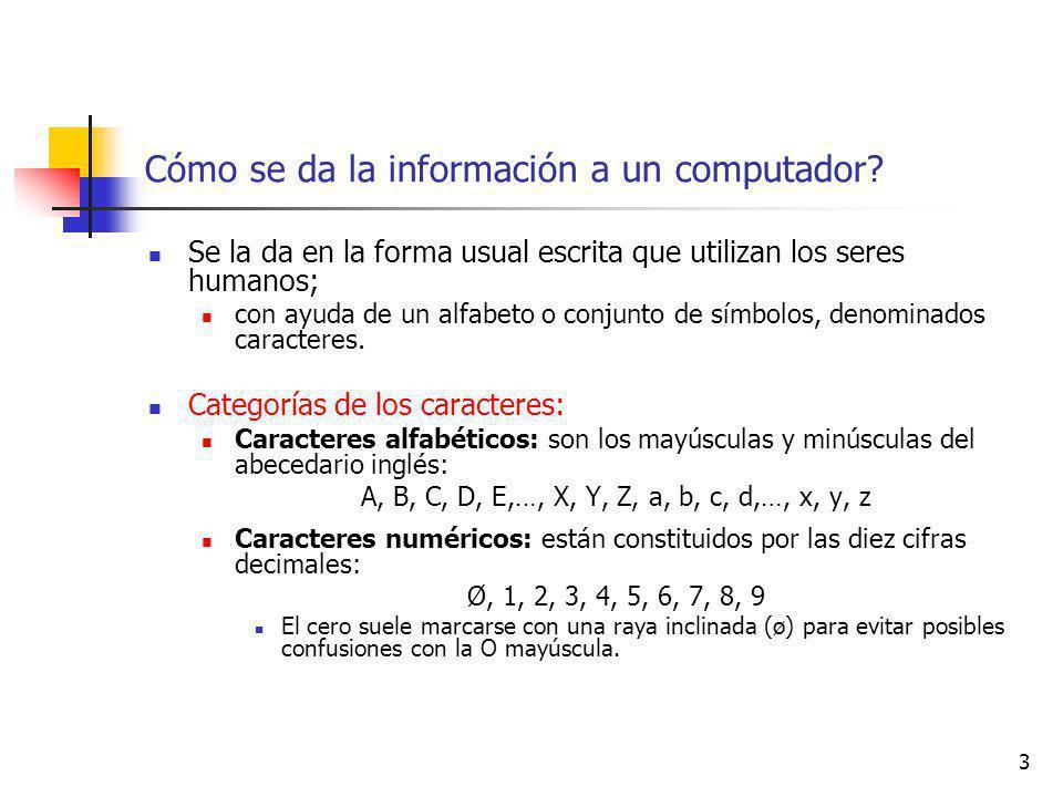 54 Representación de textos Códigos de Entrada/Salida Asocian a cada símbolo una determinada combinación de bits.