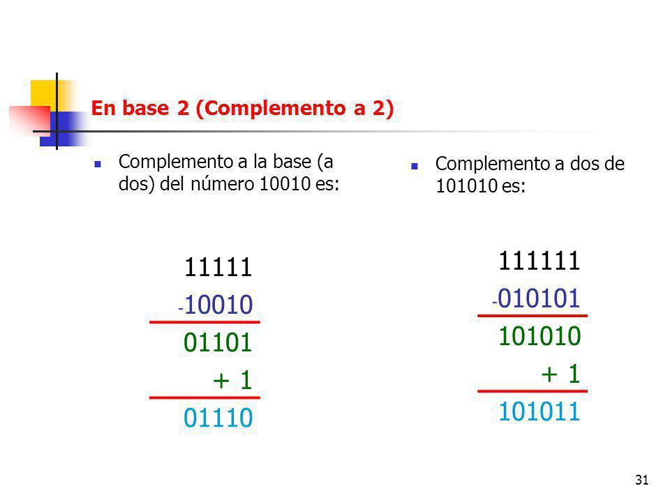 31 En base 2 (Complemento a 2) Complemento a la base (a dos) del número 10010 es: 11111 - 10010 01101 + 1 01110 111111 - 010101 101010 + 1 101011 Complemento a dos de 101010 es:
