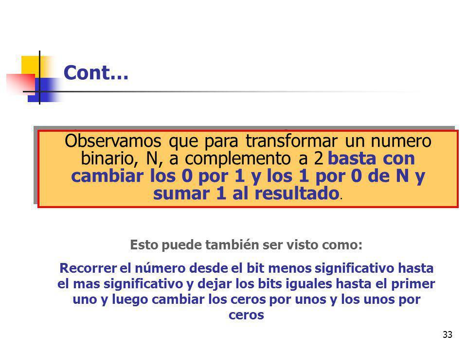 33 Cont… Observamos que para transformar un numero binario, N, a complemento a 2 basta con cambiar los 0 por 1 y los 1 por 0 de N y sumar 1 al resultado.