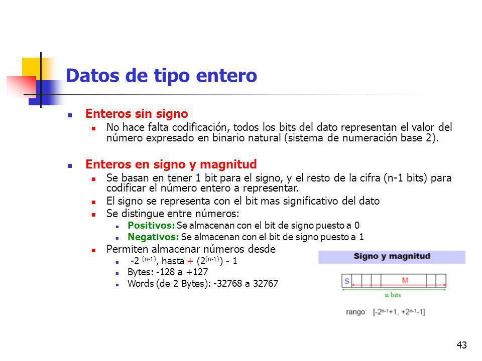 43 Datos de tipo entero Enteros sin signo No hace falta codificación, todos los bits del dato representan el valor del número expresado en binario natural (sistema de numeración base 2).